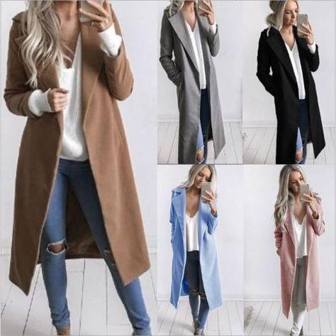 Women Long Warm Wool Coat Lapel Parka Jacket Cardigan Overcoat Outwear Winter in Clothing, Shoes & Accessories, Women's Clothing, Coats & Jackets
