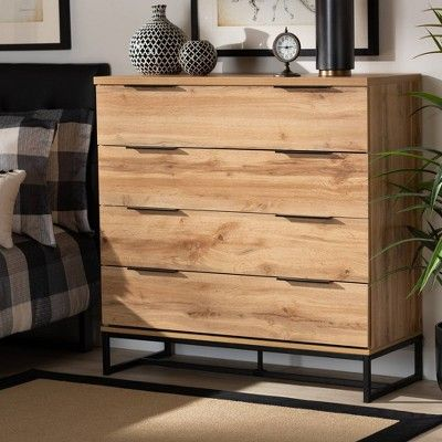 Reid Wood And Metal 4 Drawer Dresser Oak Black Baxton Studio
