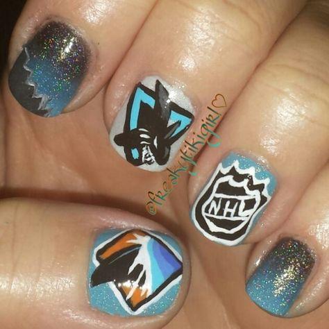 San Jose Sharks Nail Art Nhl Hockey Nail Art Shark Nail Art Nails