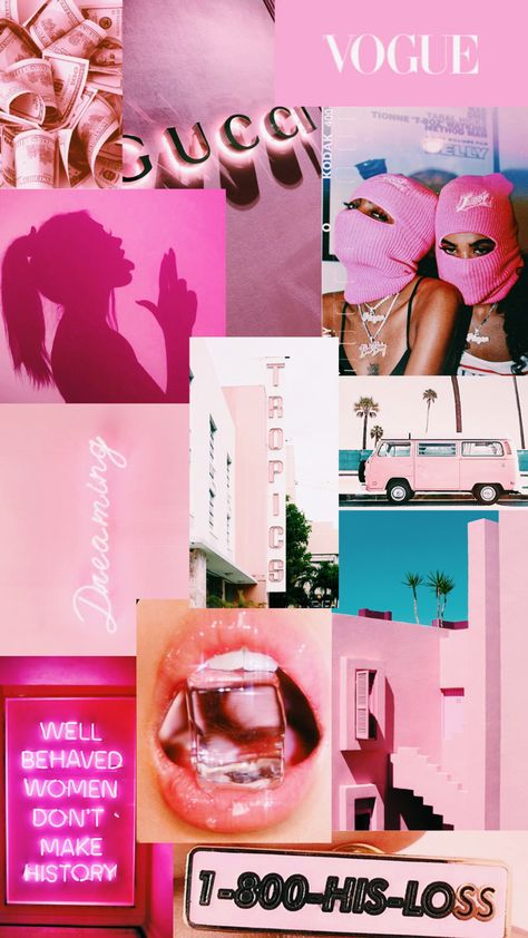pink aesthetic - collage wallpaper