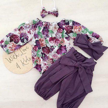 Floral Pants Newborn Baby Girls Clothes Cute Baby Girl Ruffle Sleeveless Romper Headband Winter Outfit 3Pcs Set