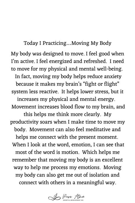 "Have you found that #affirmations don't really work for you? I had the same challenge. Try this #lifestrategy instead; it's called ""I Practice"". Practicing something helps you build #strength and #resilience and long-lasting #mindhabits. This week's life strategy is ""Moving My Body"". Practice this for a week and let me know how it goes for you. #affirmations #growthmindset #lifestrategies #resilience #positivepsychology #spiritualawakening #selfrespect #respectyourself"