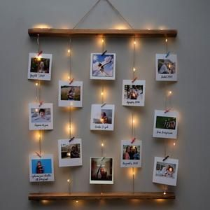 Natural Wooden Photo Board Pre-Lit Wicker Ropes with Free 12 Polaroid Photo Prints, gifts for her, gifts for him, valentine gift
