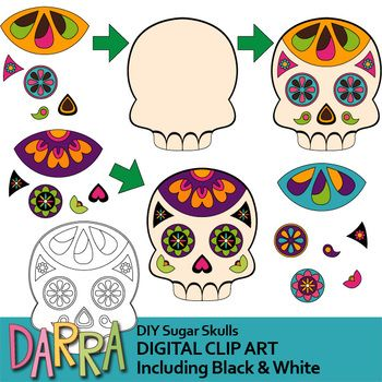 Day Of The Dead Dia De Los Muertos Is A Holiday Celebrated In Mexico Sugar Skull Is Among The Things Used For Decoration Clip Art Art Diy Halloween Digital