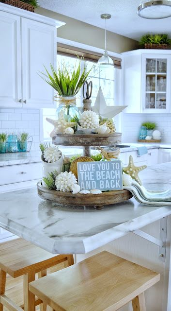 Dining Delight: Tiered Tray with Beach Decor & More Tray Ideas – Tepe Time Above Kitchen Cabinets, Kitchen Tray, Kitchen Table Makeover, Farmhouse Kitchen Decor, Coastal Farmhouse, Seaside Decor, Beach House Decor, Coastal Decor, Home Decor
