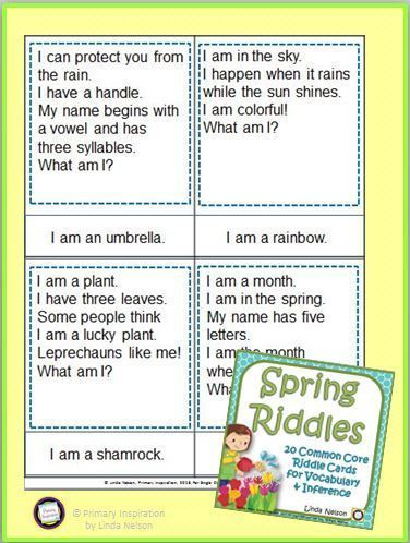 Spring Riddles | FirstGradeFaculty com | Riddles, Vocabulary