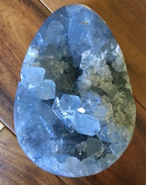 Large Celestite Crystal Cluster Egg (Releases Stress • Uplifting • Calming) The…