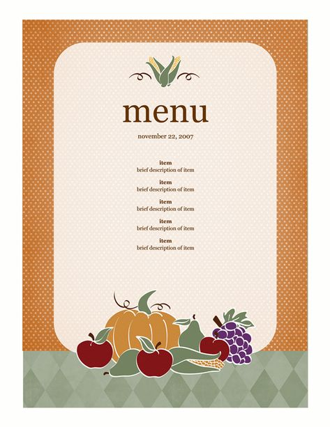 Free Autumn-themed Printables or Templates for Microsoft Office - menu templates free microsoft