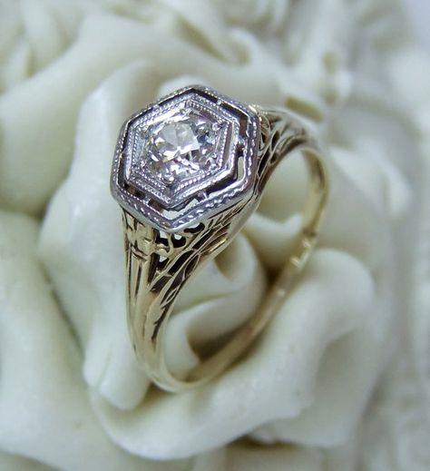 Antique 1920's Art Deco Diamond Engagement Ring by jamandtoast, $1257.00  I love this!!