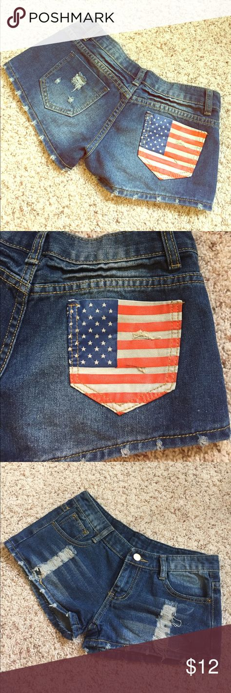 """Distressed American Flag Jean shorts - medium Super cute distressed denim short shorts with American flag back pocket. Perfect for your day at the lake or BBQ to celebrate the 4th of July! No brand label. Size medium, see measurements below. Gently worn, no flaws. Measurements taken across front with garment laying flat: waist: 13.5""""; rise: 7""""; inseam: 1.5"""". Shorts Jean Shorts"""