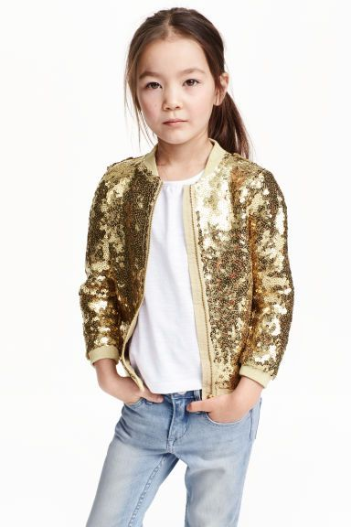 Sequined bomber jacket: Bomber jacket in sequin-embroidered tulle with a ribbed, glittery collar, zip down the front and glittery ribbing at the cuffs and hem. Lined. £17.99