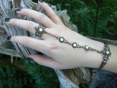 white opal slave bracelet hand chain hand flower slave ring bohemian Renaissance Mothers day victorian moon goddess pagan boho gypsy style