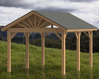 Gable Roof Gazebo Building Plans 14 X24 Perfect For Etsy