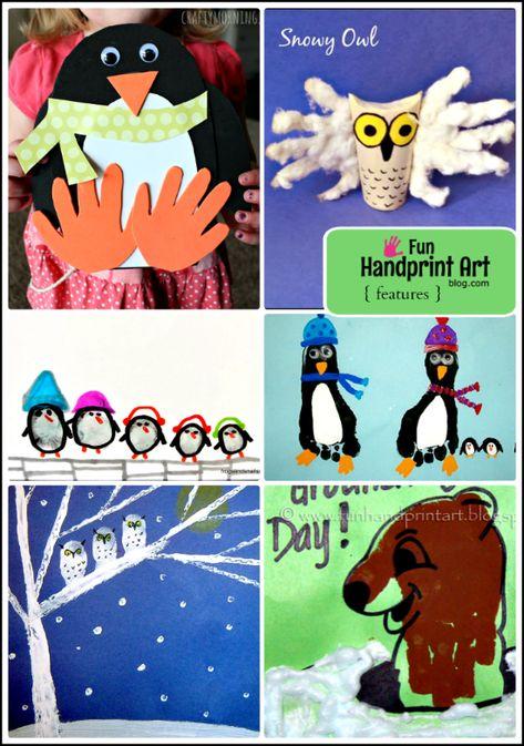 Handprint Winter Animal Crafts for Kids