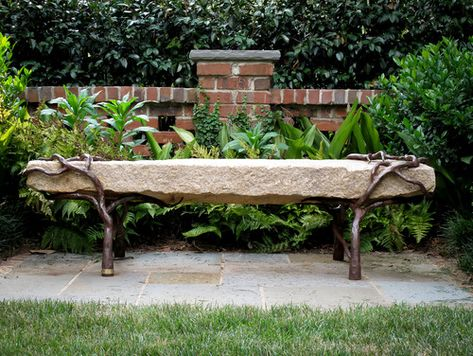 Admirable Bench Reclaimed Granite With Sculpted Metal Branch Legs Inzonedesignstudio Interior Chair Design Inzonedesignstudiocom