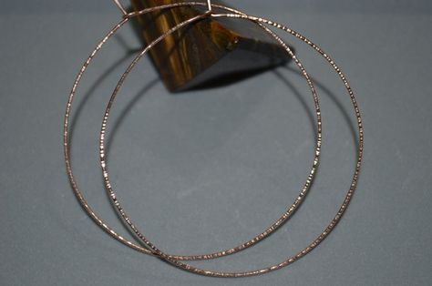 Large Rose Gold Hoop Earrings Hoops Thin Earring Wire Textured Hammered Earings 14k Jewelry