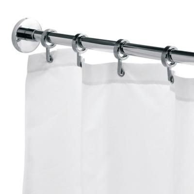 Croydex Round 98 4 In L Luxury Shower Curtain Rod With Curtain Hooks In Chrome Ad116541yw In 2020 Luxury Shower Curtain Shower Curtain Rods Luxury Shower
