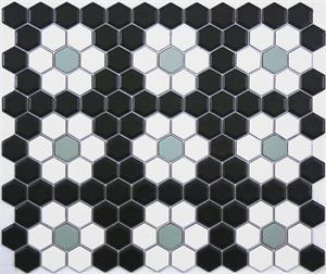 Sage Green Black And White Repeating Rosette Hexagon Tile Pattern Hexagon Mosaic Floor Patterned Floor Tiles Tile Patterns