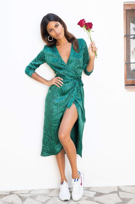 Yondal Dress In Small Green Leopard Print