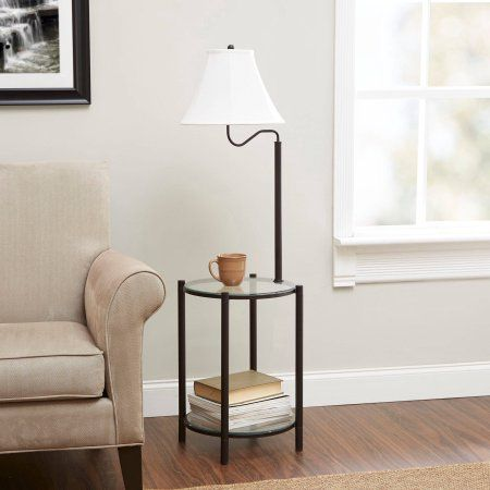 Free 2 Day Shipping On Qualified Orders Over 35 Buy Mainstays Transitional Glass End Table Lamp Matte Bla Floor Lamp Table Glass End Tables Black Floor Lamp