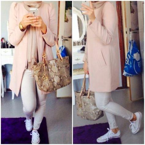 pastel hijab pink and white, Hijabista fashion looks http://www.justtrendygirls.com/hijabista-fashion-looks/