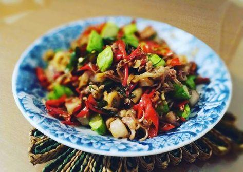 Resep Sambal Cumi Asin Pete Maknyus Oleh Mache Kitchen Resep Resep Ikan Makanan Resep