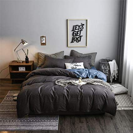 Amazon Com Mofeel Dark Grey Plaid Grid Premium Microfiber Zipper Closure Line Comforter Set Soft 3pcs Duvet Comforter Sets Duvet Cover Sets Queen Bedding Sets