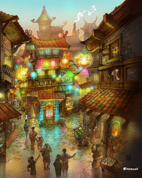 Concept art for Monkey Kingdom—sketch by Topper Helmers, digital paint by Sol Song (from article: Theme Park Nerdity and Jurassic Dreams on blooloop.com)