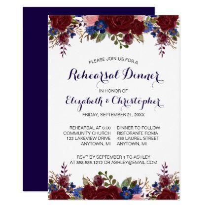 Navy Blue Marsala Floral Rehearsal Dinner Invitation