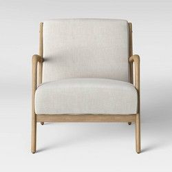 Avocet Rattan Fan Back Accent Chair Opalhouse Brown Wood Arm