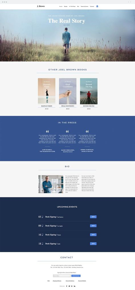 Bestselling Author Online Store Website Template Web