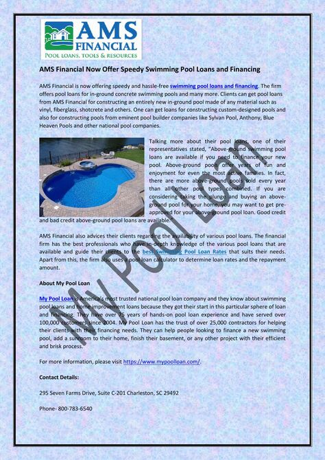 Ams financial now offer speedy swimming pool loans and ...
