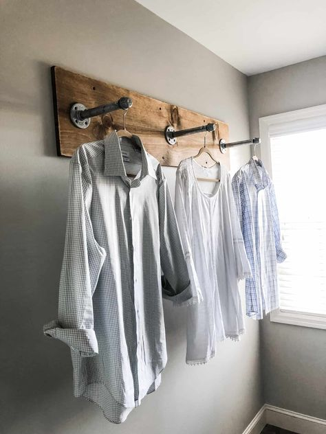 DIY Clothes Rack for Your Laundry Room with Industrial Pipes and Wood By Wilshi . DIY Clothes Rack for Your Laundry Room with Industrial Pipes and Wood By Wilshire Collections Home Decor Ideas, Farmhouse, Farmhouse Decor, Decorating. Farmhouse Diy, Diy Clothes Rack, Laundry Room Decor, Room Diy, Farmhouse Laundry Room, Clothing Rack, Room Makeover, Room Design, Farmhouse Furniture