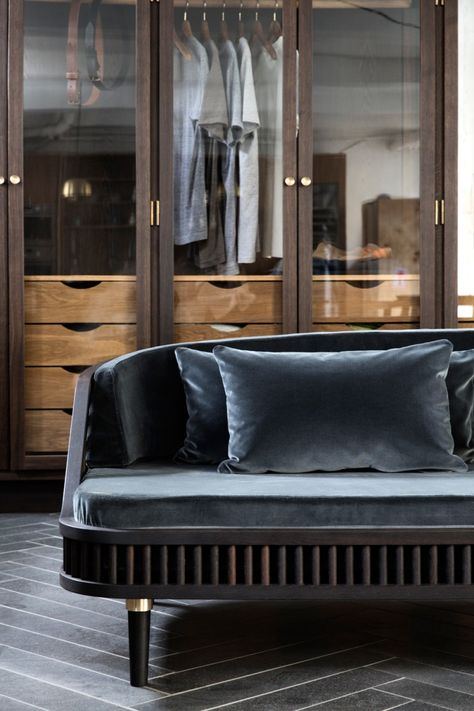 "AMAZING SOFA | sofa ""Dedar"" by KBH - fumed oak, brass and grey velvet 