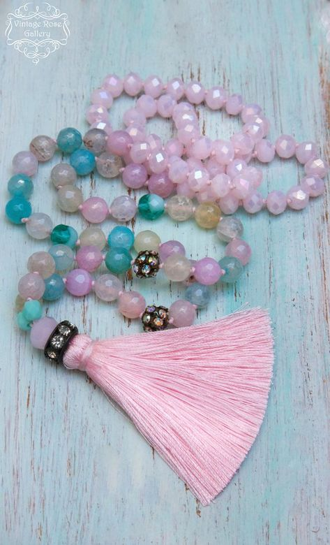 Vintage Clasp beaded One Strand Single Cottage Chic Pink Green Seed Bead Pastel
