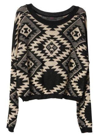 Geometric pattern round neck Bat-sleeved sweater:Buy at Sheinside