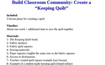 The Keeping Quilt Project Create A Classroom Quilt