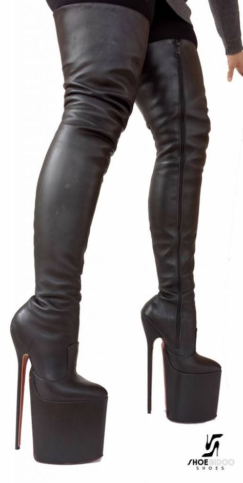 Extreme high platform boots leather