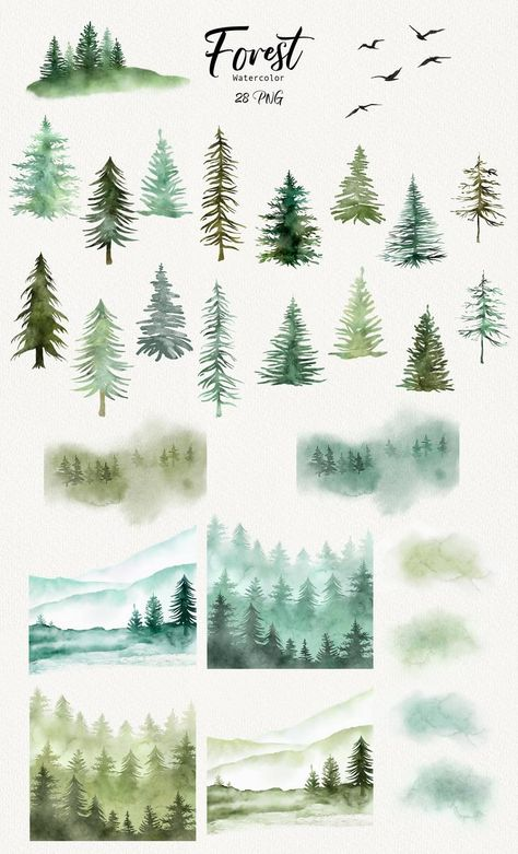 Watercolor Trees, Easy Watercolor, Watercolor Landscape, Watercolor Paintings, Watercolor Christmas Art, Watercolors, Watercolor Projects, Watercolor Paper, Tree Clipart