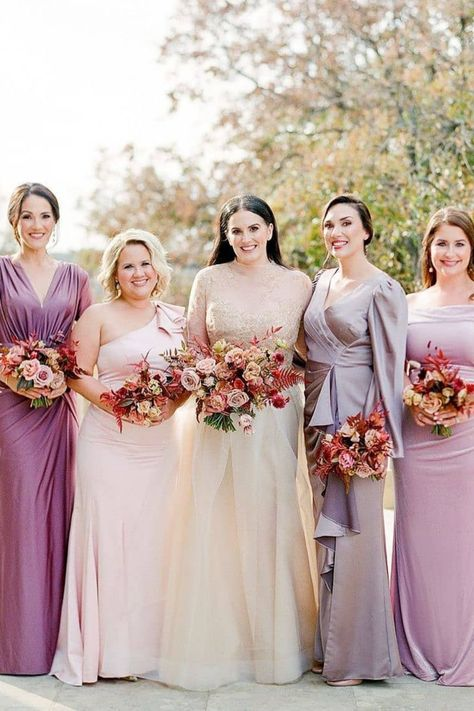 Our love for 'maids in varying shades' could not be greater! 💜 This group created a truly unique ensemble in their gorgeous blush and purple gowns, highlighting each individual woman. We have a feeling you'll want to save this @josevilla capture for the ultimate bridesmaid inspo! 😍   LBB Photography: @josevilla #stylemepretty #purplewedding #bridesmaids #bridalparty #bridesmaiddresses