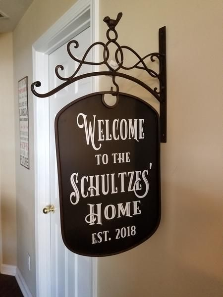 Custom Personalized Iron Sign And Bracket Address Welcome Business Bed Breakfast Porch Sign Porch Signs Personalized Metal Signs Custom Yard Signs