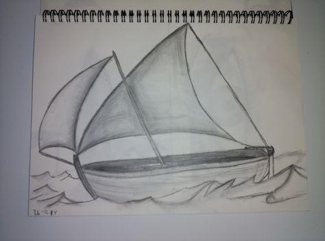 Barco en grafito. Dibujo rápido en grafitos de varias durezas.