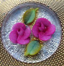 Vintage 60s Lucite Carved Pink Roses Lipstick Holder Case Vanity