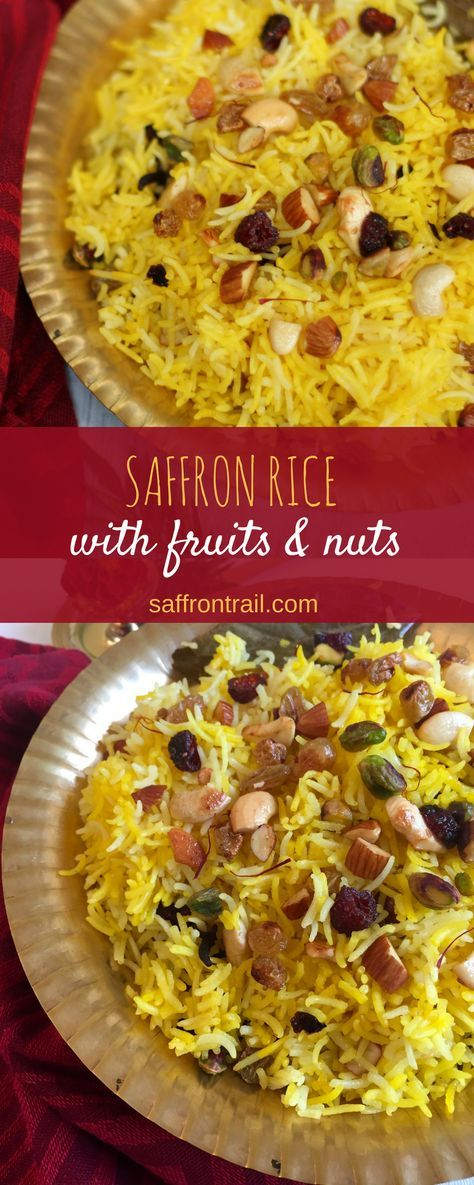 Saffron Rice Pilaf recipe: Long grained basmati rice doused with saffron milk and tossed along with ghee-roasted nuts and dried fruits makes one hell of a beautiful and festive rice dish. Serve with any spicy curry to make a complete meal. Saffron Rice Pilaf Recipe, Saffron Recipes, Basmati Rice Recipes, Indian Food Recipes, Vegetarian Recipes, Cooking Recipes, Diwali Recipes, Indian Snacks, Cooking Tips