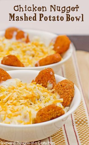Need a quick dinner idea for a couple of hungry kids? You've got to try these Chicken Nugget Mashed Potato Bowls! Need a quick dinner idea for a couple of hungry kids? You've got to try these Chicken Nugget Mashed Potato Bowls! Mashed Potato Bowl Recipe, Homemade Mashed Potatoes, Meals With Mashed Potatoes, Cheesy Potatoes, Frugal Meals, Cheap Meals, Easy Kids Meals, Kids Meals Ideas, Toddler Dinners