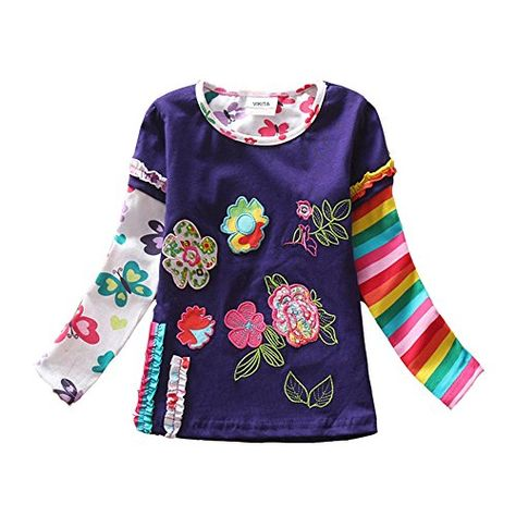 VIKITA Little Girls Colorful Flower Long Sleeve Cotton T-Shirt Top 1-7Years