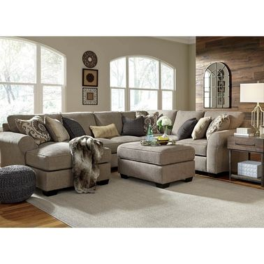 Benchcraft Pantomine 4 Pc Sectional Laf Chaise Armless Loveseat Wedge Raf Loveseat Sofas Couches Furniture Ashley Furniture Living Room Furniture Layout