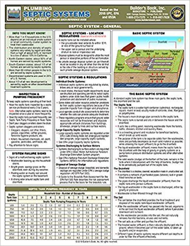 Plumbing Septic Systems Quick Card Based On The 2018 Upc Epa And Usda Builders Book Inc 9781622701919 Amazon Com Septic System How To Buy Land Quick Cards