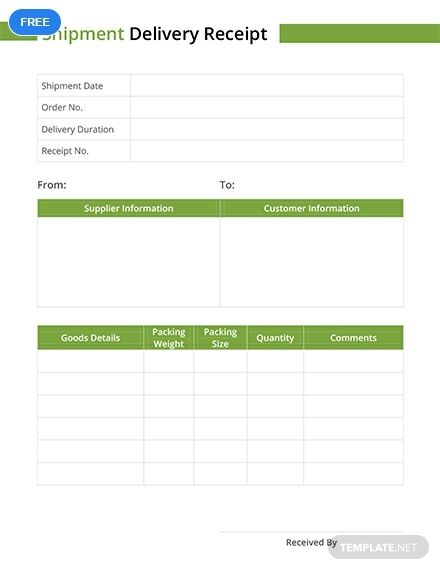 Create A Receipt Template For Company S Shipment Deliveries This Template Is Easy To Edit And Fully Customizable In All Ver Receipt Template Templates Ms Word