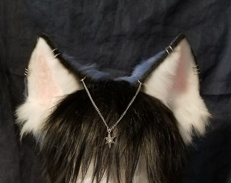Navy Star Husky ears have been listed! 7 silver piercings a dangling chain and silver star charm w/ gem inside! Around inches tall fully wired and poseable. Shop link in bio! Cosplay Diy, Cosplay Outfits, Anime Outfits, Cosplay Costumes, Wolf Ears And Tail, Fox Ears, Cosplay Kawaii, Kitten Play Gear, Neko Ears